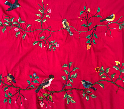 """Handwoven Embroidered Cotton Birds on Branches fabric by the yard Guatemala (48"""" wide x 36"""") Featured in the New York Times. Hot pink rose."""