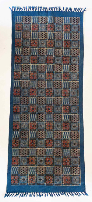 Handmade Block Printed Natural Dyed Canvas Patchwork Runner  30 x 72 Prussian indigo blue, brick red, cream and black