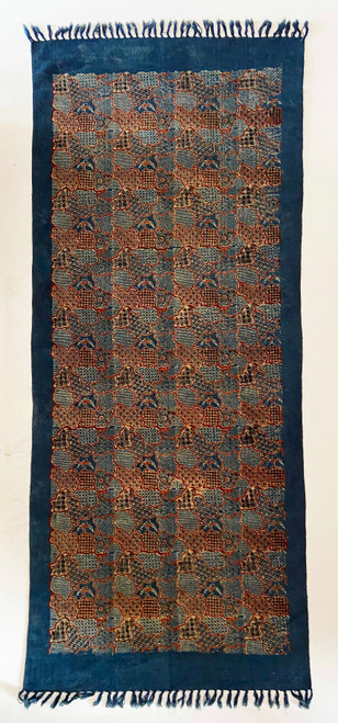 Handmade Block Printed Natural Dyed Canvas Runner Puzzle Rug India 30 x 72 Prussian indigo blue, brick red, cream and black