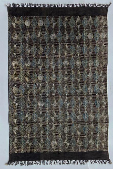 Handmade Block Printed Natural Dyed Brown Diamond Canvas Rug India Indigo brown cream black