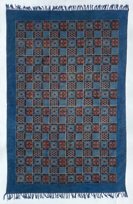 Handmade Block Printed Natural Dyed Canvas Patchwork Rug India-  2 sizes Colors: indigo, brick red, black and cream.