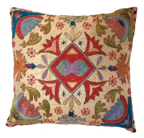 """Hand Embroidered Silk Pillow Wheat Uzbekistan (18"""" x 18"""") Embroidery colors:deep papaya, olive, blue grey, muted pumpkin, golden yellow, teal blue, indigo blue, lavender, violet, black cream and more."""
