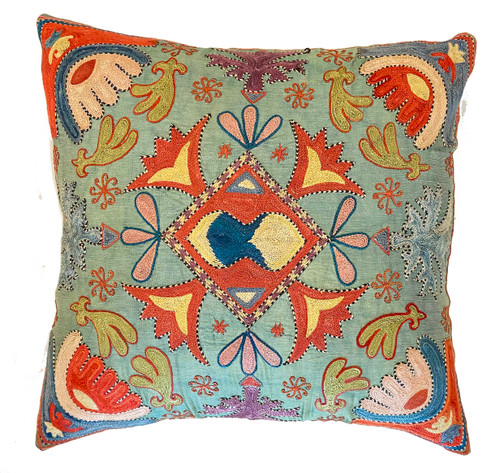 """Hand Embroidered Silk Pillow Uzbekistan (18"""" x 18"""") washed soft turquoise, Prussian blue, pale olive, blue grey, muted pale pink, pale violet, pale blue black, cream and more"""