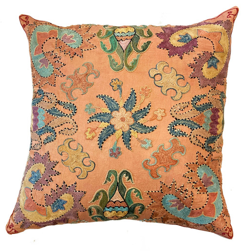 """Hand Embroidered Silk Pillow Uzbekistan (18"""" x 18"""") washed soft peach, washed pine, chalky turquoise, variegated medium indigo, chalky violet, wheat black and more."""