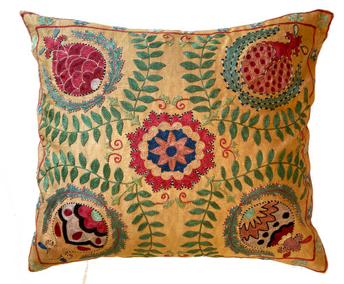"""Hand Embroidered Silk Pillow Uzbekistan (20"""" x 22"""") wheat cloth with chalky pine, red orange, rich red, Prussian blue, blue sage, pale teal, dusty rose, faded pinkish tan, black and more"""