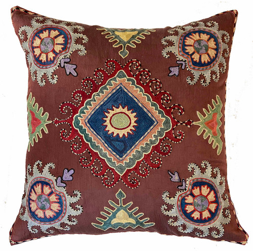 """Hand Embroidered Silk Pillow Uzbekistan (18"""" x 18"""") red brown cloth with rich red, indigo, robins egg blue, chalky pine, oatmeal, citrine,  dusty papaya, cream, black"""