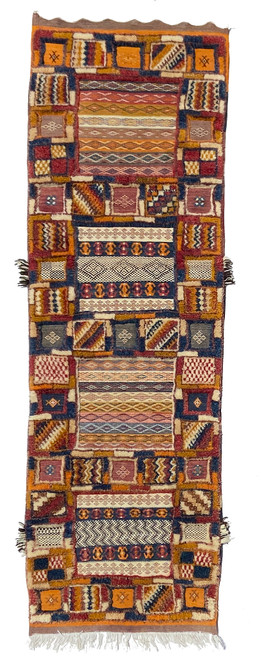 """Handwoven  Glaoui Tapestry Pile Wool Rug  Morocco (27"""" x 86"""")  .  Extraordinary fine detail  Colors: A rich and pleasing medley of camel, dusty brick, deep red, dark brown, natural white gold"""