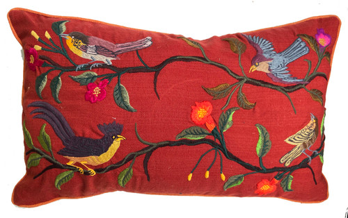 Handwoven Embroidered Rust Bird Pillow Guatemala  greens, bright orange, browns, blue grey, cocoa, blue grey, gold, mustard and more