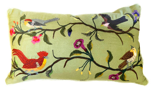 Handwoven Embroidered Sage Bird Pillow Guatemala  greens,  brick , bright pink, purple, grey, puce, blue grey, tan, cream, purple, brown  and more