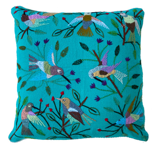 """Handwoven and Hand Embroidered Bird Pillow on Turquoise Guatemala (18"""" x 18"""") embroidery: pink, violet, , pale peach, light blue, cocoa brown, red, grey, white, chino, mint green, red brown and more"""