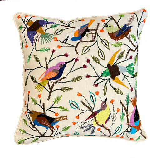 """Handwoven and Hand Embroidered Bird Pillow on White 2 Guatemala (18"""" x 18"""") greens, orange, blues, white, mustard, red brown, lilac, sky blue, yellow, burgundy, khaki, black and more"""