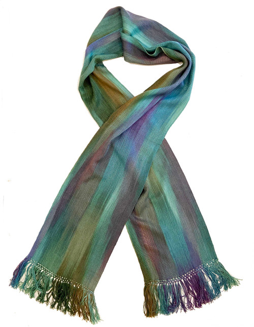 """Handwoven Bamboo Scarf Blend Guatemala (8"""" x 68"""") A cascade of color- of blues, greens, purples and more"""