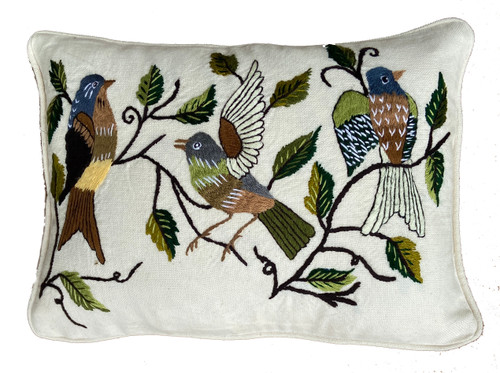 """Handwoven and Hand Embroidered Bird Lumbar Pillow White Guatemala (10"""" x 15"""") colors embroidery variety of browns, greens, and pale yellow, white, gray and blue gray"""