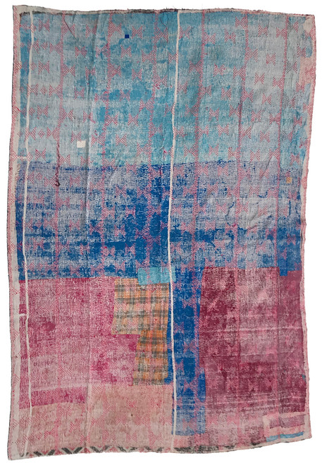 """Kantha Quilt Hand Stitched Vintage Sari 58 India (59"""" x 86"""") patina of use has worn away the top layer to reveal hints of the layers below giving this side a very painterly effect. Marine blue, sky blue, dark raspberry, medium raspberry, grey, with embroidery in bright red. vintage print in charcoal, dusty rose-pink, grey, hints of bright mint green."""