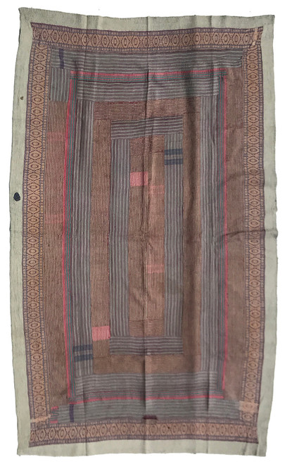 """Kantha Quilt Hand Stitched Vintage Sari 59 India (48"""" x 78"""") Side  A patina of use has worn away the top layer to reveal hints of the layers below giving this side a very painterly effect. Colors include dark gray, lite gray, showing through bits of bright blue and burgundy red."""