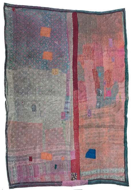 """Kantha Quilt Hand Stitched Vintage Sari 60 India (65"""" x 90"""") Side A patina of use has worn away the top layer to reveal hints of the layers below giving this side a very painterly effect. Colors include peach, red, teal, raspberry pink, turquoise, grey, Raspberry pink, sky blue, teal, pine green, grey."""