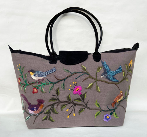 Handwoven t purplish grey with black leather satchel blue rose green embroidered Guatemala
