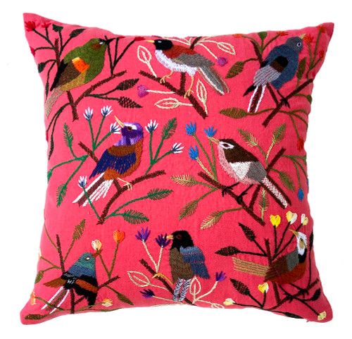 """Handwoven and Hand Embroidered Bird Pillow on Pale Peach Rose Guatemala (18"""" x 18"""") greens, grey, rusty brown, violet, khaki, pale yellow, pale sage green, blue grey, deep blue, black, brown, brown and more."""
