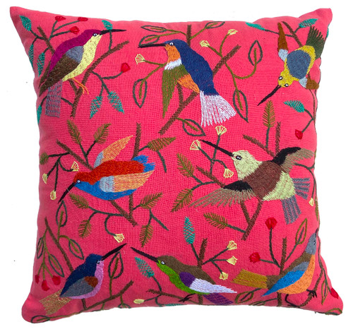"""Handwoven and Hand Embroidered Bird Pillow on Rose Guatemala (18"""" x 18"""") reens, brown, robins egg blue, pumpkin, bright rust, Prussian blue, purple, yellow"""