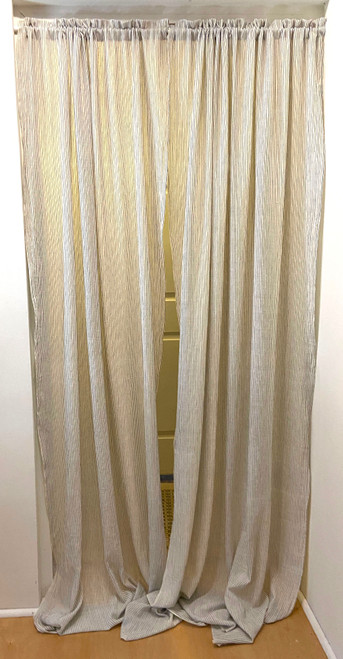 "Handwoven Organic Cotton Striped Curtains India (44"" x 96"") white with indigo stripes"