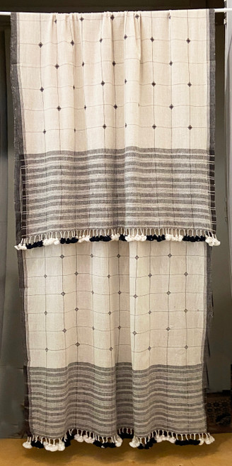 """Handwoven Organic Cotton Natural Dyed Curtain White Charcoal India (36"""" x 94"""") natural white and charcoal."""