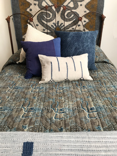 """Handmade Block Printed Natural  Dyed Quilt 1 Queen India  (95"""" x 105"""") shades of indigo, charcoal grey, charcoal brown and tan"""