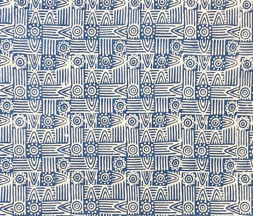 "Handmade Batik Natural  Indigo Dyed Cotton Fabric India (45"" wide) medium sky blue indigo white"