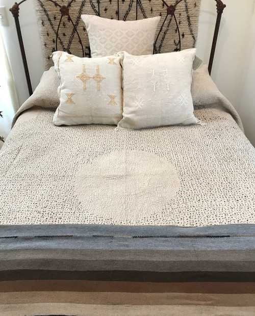 """Hand Stitched Cotton Quilt Queen Light  India  (90"""" x 92"""") washed mocha- tan colored cotton. Stitching colors: Black hand stitching with accent threads in chalky pink and light gray."""