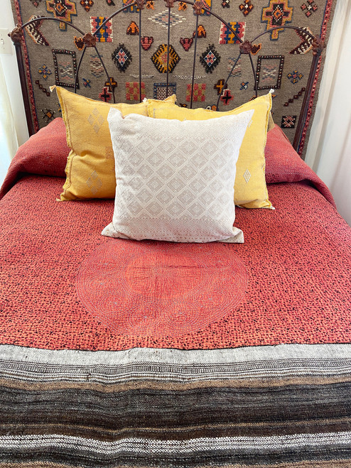 """Hand Stitched Cotton Quilt Queen Papaya India  (92"""" x 92"""") Black hand stitching with accent threads in chalky pink and light gray."""
