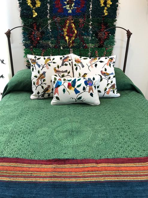 "Hand Stitched Cotton Quilt Queen Pine Green India  (86"" x 102"") Black hand stitching"