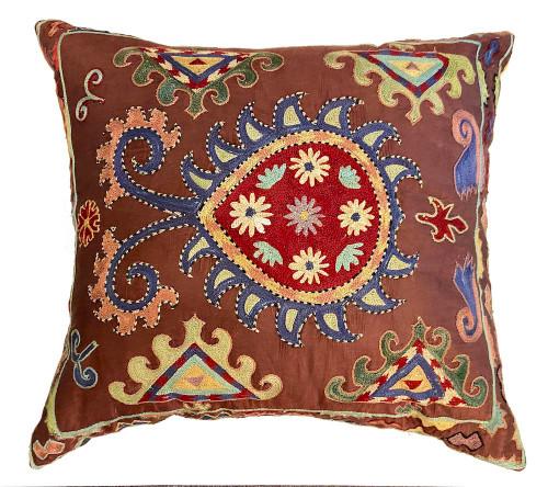 """Hand Embroidered Silk Pillow M Uzbekistan (19"""" x 20"""")"""