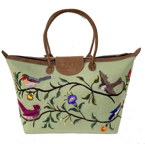 Handwoven Embroidered Sage Santiago Satchel Guatemala