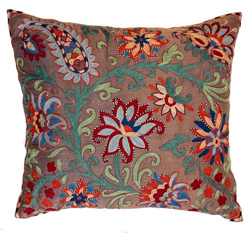 "Hand Embroidered Silk Pillow Uzbekistan (18"" x 20"") Red orange, deep magenta, light blue, Prussian blue, teal green, lime green, creamy salmon, orange, cafe au lait and cream"