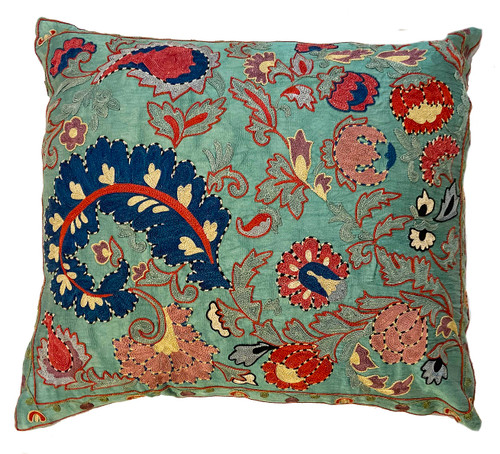 """Hand Embroidered Silk Pillow Uzbekistan (18"""" x 20"""")brick, dusty rose, robins egg blue, washed teal, navy, washed plum, black and cream"""