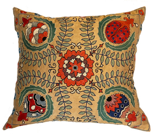 """Hand Embroidered Silk Pillow 12 Uzbekistan (19"""" x 21"""") wheat chalky pine, red orange, rich red, Prussian blue, blue grey, pale sage, forest green, red brown, cream, black and more"""