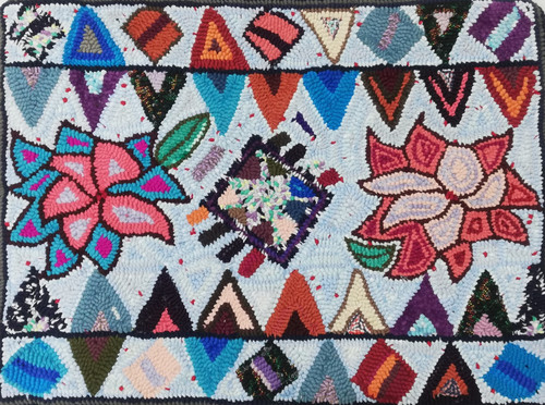 Handmade Hooked Small Rug Recycled Clothing by Lucia Guatemala flowers and geometrics Light blue