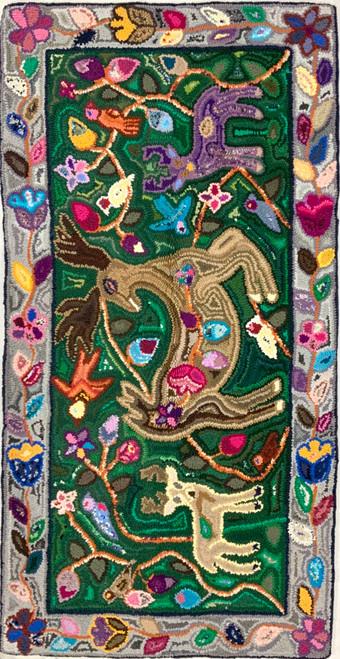 """Handmade Hooked Large Deer Rug Recycled Clothing Guatemala (24"""" x 48"""") deer birds flowers"""