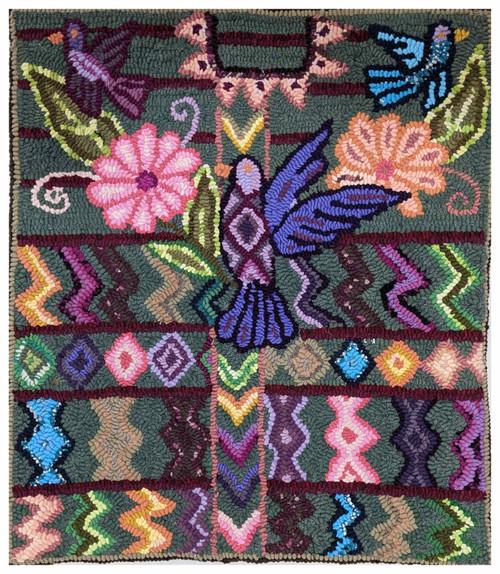 Handmade Hooked Small Rug Recycled Clothing by Nicolasa Guatemala Purple 19 x 22