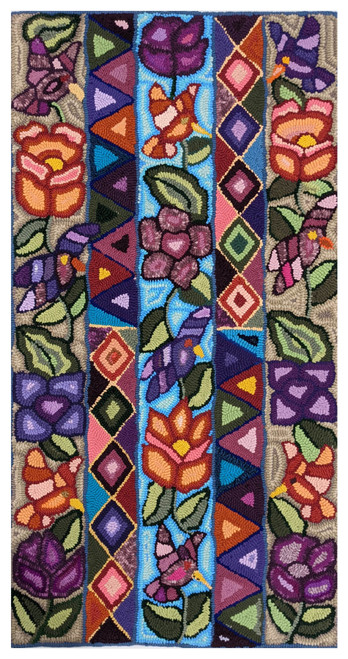 """Handmade Hooked Large Rug Recycled Clothing Irma Guatemala (25"""" x 47"""") Flowers and leaves and diamonds and triangles"""