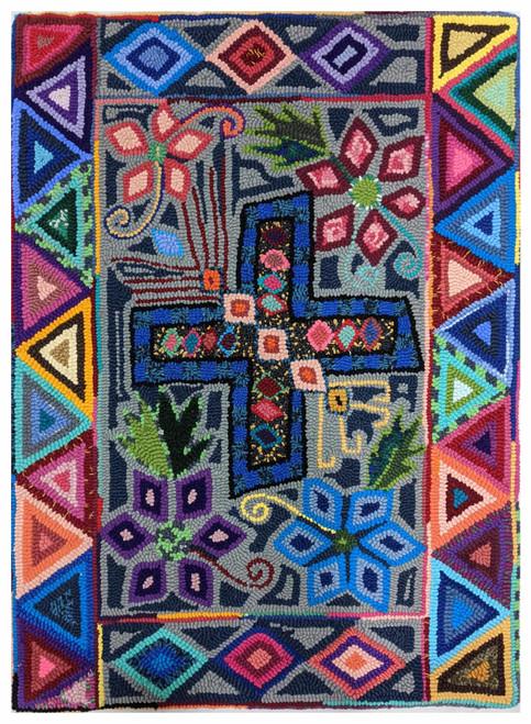 "Handmade Hooked Medium Rug Recycled Clothing Juana  Guatemala (24"" x 32"")"