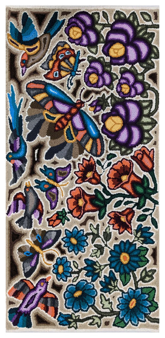 """Handmade Hooked Large Rug Recycled Clothing Irma Guatemala (24"""" x 47"""") Butterflies, birds and flowers."""