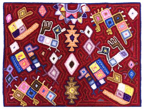"Handmade Hooked Medium Rug Recycled Clothing Gloria  Guatemala (25"" x 33"") Images from Maya Textiles Red"