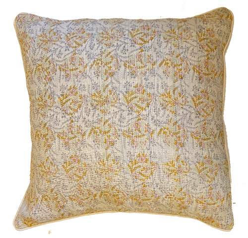 """Hand Stitched Kantha Cotton Pillow  India (20"""" x 20"""")gold, pale grey, pale pink, and cream with a fine rows of  white stitching"""