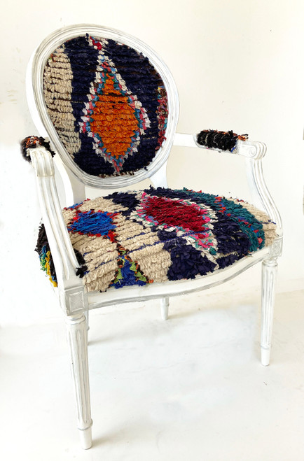 Vintage Accent Chair with Moroccan Boucherouite dark blue, orange, red, bright blue, teal, cream, black and more.