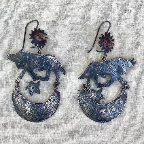 Handmade Silver Bull, Sun and Moon Earrings Mexico (1.5 x 2.5)
