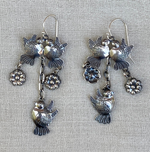 Handmade Silver Bird Flower Earrings Mexico (1 x 2.5)