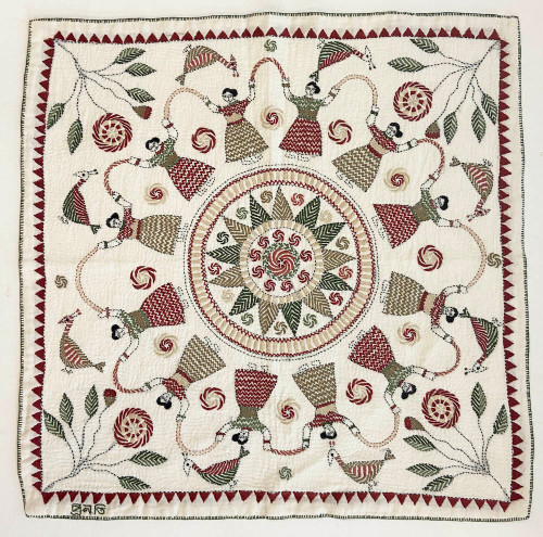 """West Bengal Replica Embroidered Kantha Wall Hanging  India (21"""" x 21"""") dark sand, sage, evergreen, light tan, dusty rose, burgundy-brick red"""