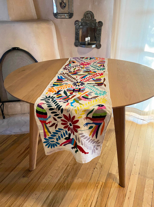 Otomi Hand embroidered cotton table runner Mexico white with multicolored embroidery butterfly, bird, animals, plants
