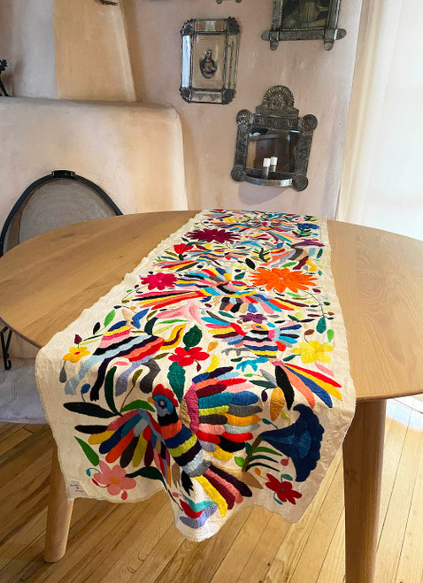 Otomi Hand embroidered cotton table runner Mexico white 17  x 68 with multicolored embroidery butterfly, bird, animals, plants