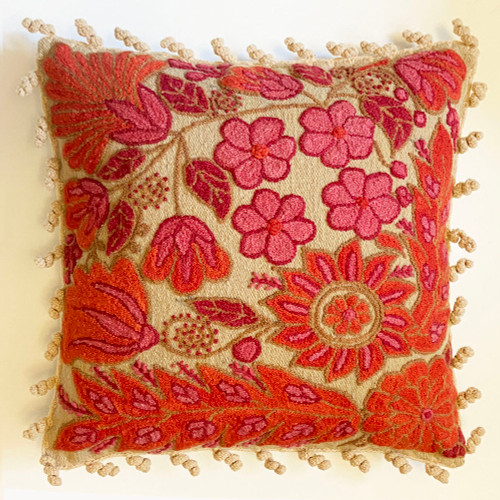 """Woolen Hand Woven and Embroidered Pillow Pink and Orange Peru  (18"""" x 18"""") floral design is fine embroidery, french knots and hand crewel work in wool yarn. Colors: Embroidery in bright papaya orange, rose, light pink and camel on a soft beige colored handwoven ground."""